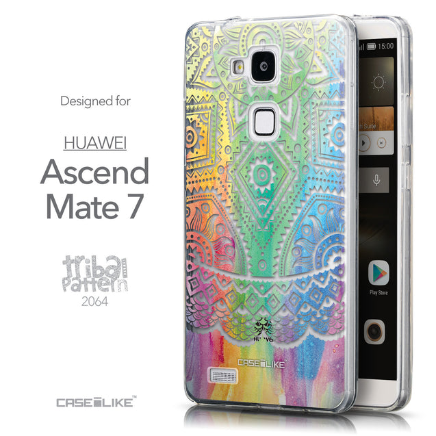 Front & Side View - CASEiLIKE Huawei Ascend Mate 7 back cover Indian Line Art 2064