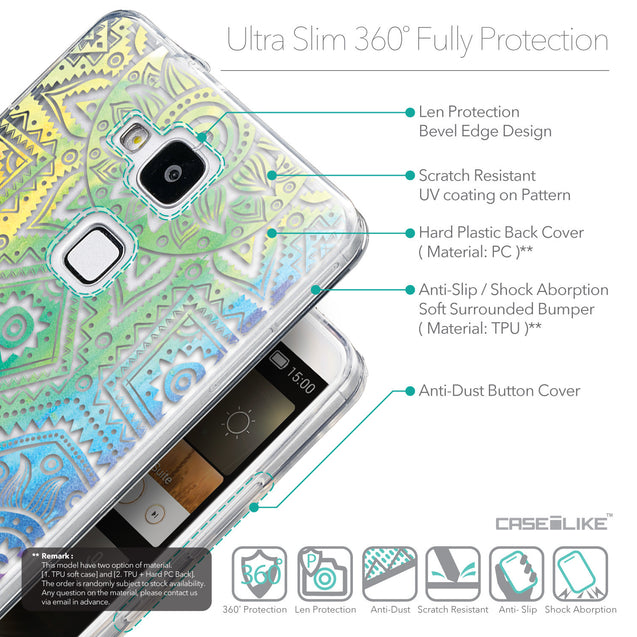 Details in English - CASEiLIKE Huawei Ascend Mate 7 back cover Indian Line Art 2064