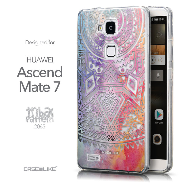 Front & Side View - CASEiLIKE Huawei Ascend Mate 7 back cover Indian Line Art 2065