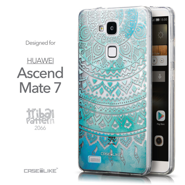 Front & Side View - CASEiLIKE Huawei Ascend Mate 7 back cover Indian Line Art 2066