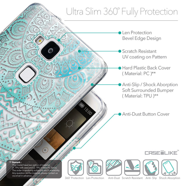 Details in English - CASEiLIKE Huawei Ascend Mate 7 back cover Indian Line Art 2066