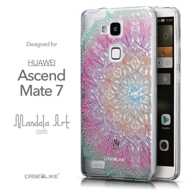 Front & Side View - CASEiLIKE Huawei Ascend Mate 7 back cover Mandala Art 2090