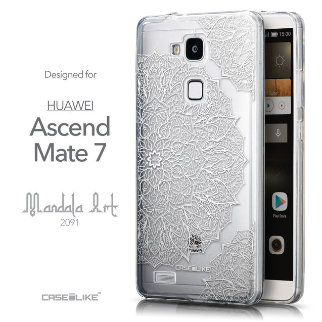 Front & Side View - CASEiLIKE Huawei Ascend Mate 7 back cover Mandala Art 2091