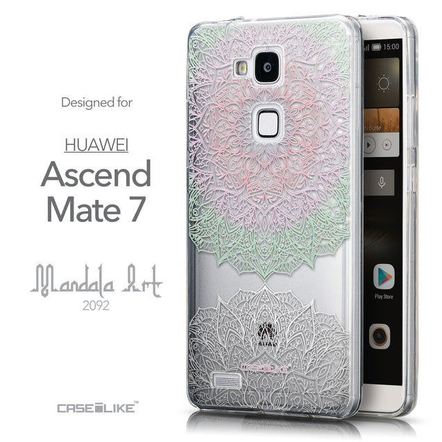 Front & Side View - CASEiLIKE Huawei Ascend Mate 7 back cover Mandala Art 2092