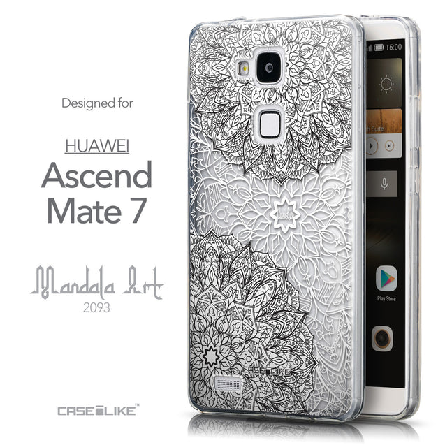 Front & Side View - CASEiLIKE Huawei Ascend Mate 7 back cover Mandala Art 2093