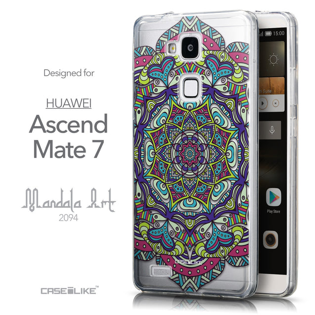 Front & Side View - CASEiLIKE Huawei Ascend Mate 7 back cover Mandala Art 2094