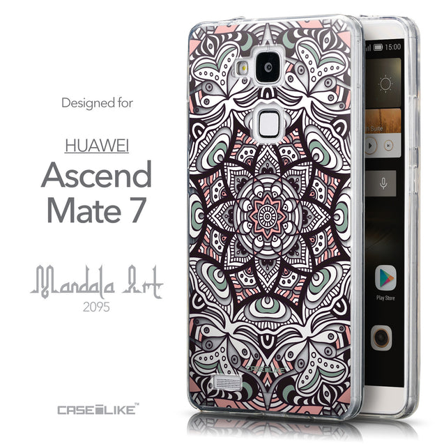 Front & Side View - CASEiLIKE Huawei Ascend Mate 7 back cover Mandala Art 2095