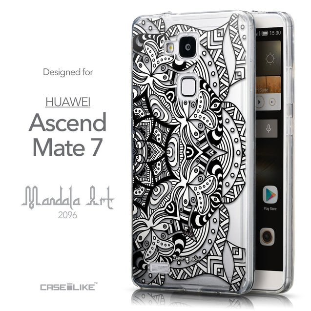 Front & Side View - CASEiLIKE Huawei Ascend Mate 7 back cover Mandala Art 2096