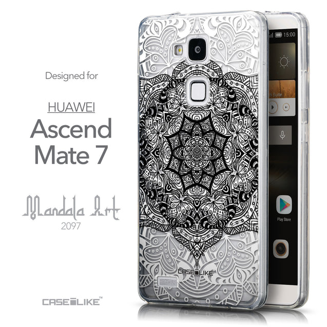 Front & Side View - CASEiLIKE Huawei Ascend Mate 7 back cover Mandala Art 2097