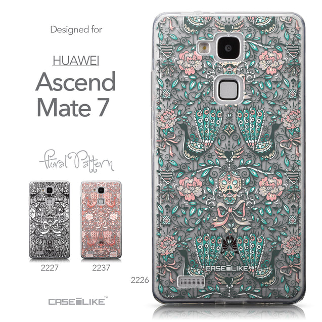 Collection - CASEiLIKE Huawei Ascend Mate 7 back cover Roses Ornamental Skulls Peacocks 2226