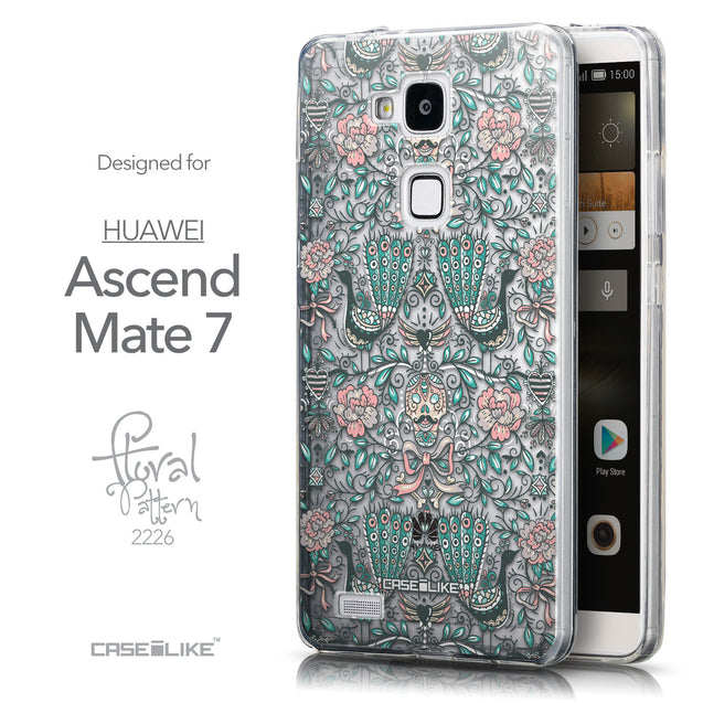 Front & Side View - CASEiLIKE Huawei Ascend Mate 7 back cover Roses Ornamental Skulls Peacocks 2226