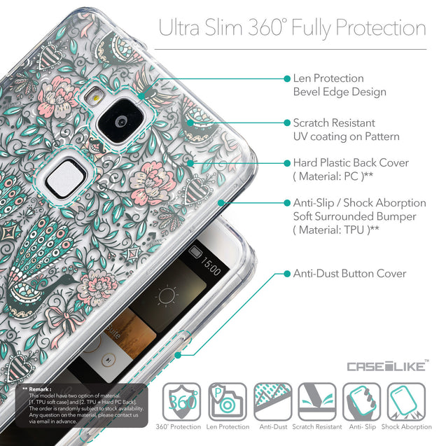 Details in English - CASEiLIKE Huawei Ascend Mate 7 back cover Roses Ornamental Skulls Peacocks 2226