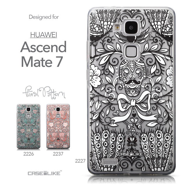 Collection - CASEiLIKE Huawei Ascend Mate 7 back cover Roses Ornamental Skulls Peacocks 2227