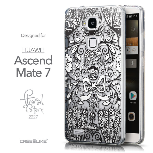 Front & Side View - CASEiLIKE Huawei Ascend Mate 7 back cover Roses Ornamental Skulls Peacocks 2227