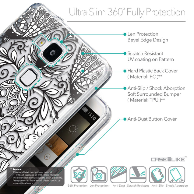 Details in English - CASEiLIKE Huawei Ascend Mate 7 back cover Roses Ornamental Skulls Peacocks 2227