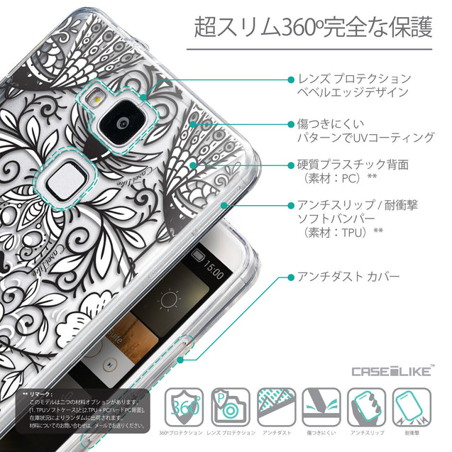 Details in Japanese - CASEiLIKE Huawei Ascend Mate 7 back cover Roses Ornamental Skulls Peacocks 2227