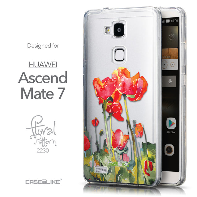 Front & Side View - CASEiLIKE Huawei Ascend Mate 7 back cover Watercolor Floral 2230