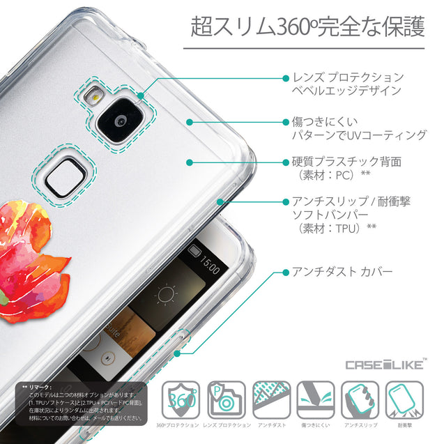 Details in Japanese - CASEiLIKE Huawei Ascend Mate 7 back cover Watercolor Floral 2230