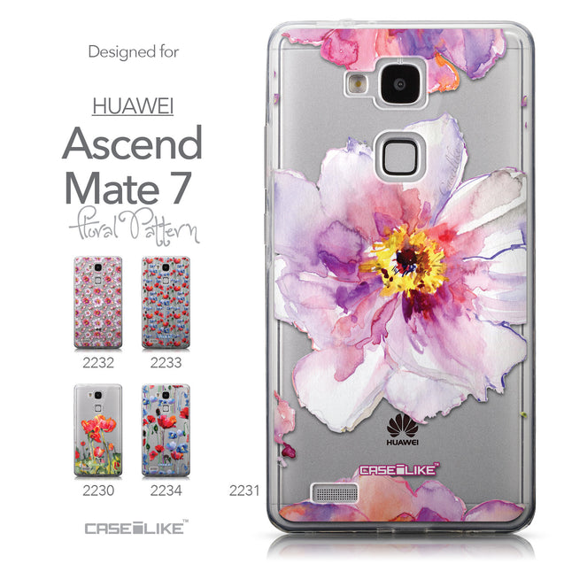 Collection - CASEiLIKE Huawei Ascend Mate 7 back cover Watercolor Floral 2231