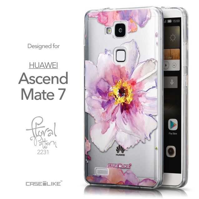 Front & Side View - CASEiLIKE Huawei Ascend Mate 7 back cover Watercolor Floral 2231