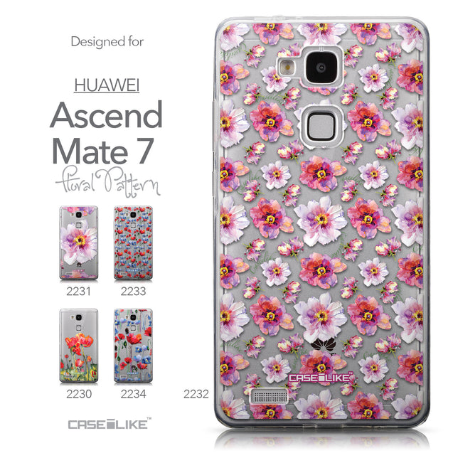 Collection - CASEiLIKE Huawei Ascend Mate 7 back cover Watercolor Floral 2232