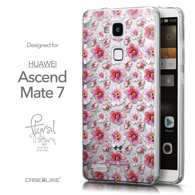 Front & Side View - CASEiLIKE Huawei Ascend Mate 7 back cover Watercolor Floral 2232