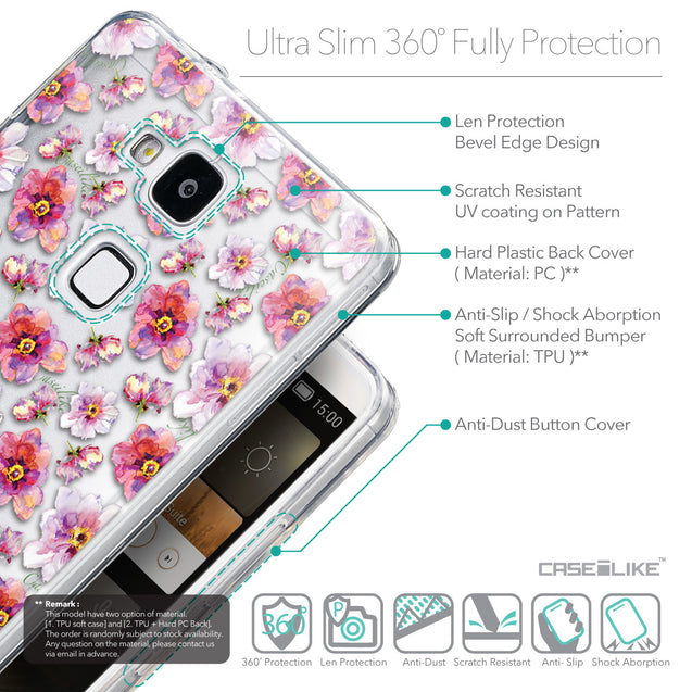 Details in English - CASEiLIKE Huawei Ascend Mate 7 back cover Watercolor Floral 2232