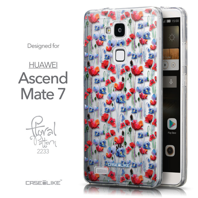 Front & Side View - CASEiLIKE Huawei Ascend Mate 7 back cover Watercolor Floral 2233
