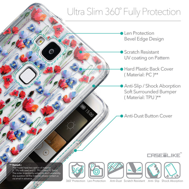 Details in English - CASEiLIKE Huawei Ascend Mate 7 back cover Watercolor Floral 2233