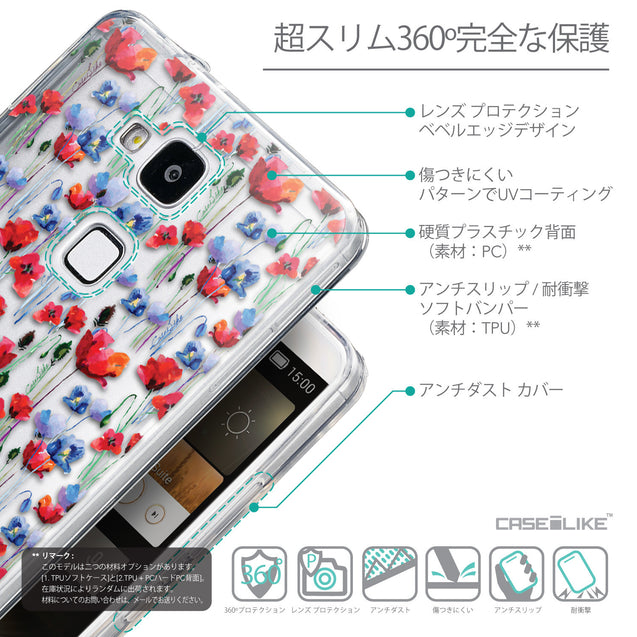 Details in Japanese - CASEiLIKE Huawei Ascend Mate 7 back cover Watercolor Floral 2233