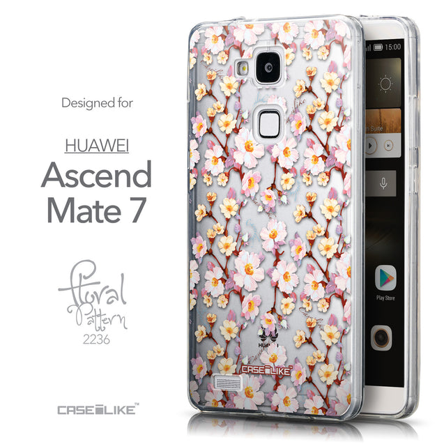 Front & Side View - CASEiLIKE Huawei Ascend Mate 7 back cover Watercolor Floral 2236