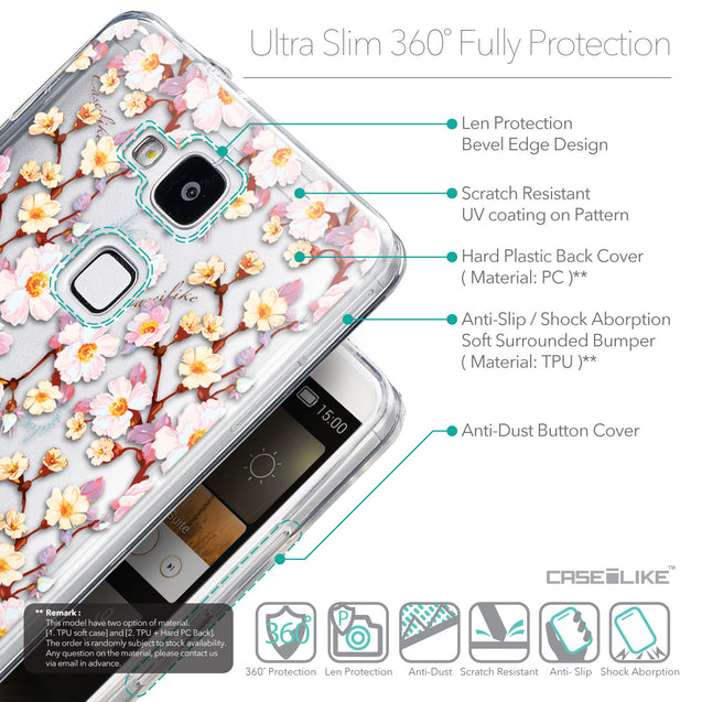 Details in English - CASEiLIKE Huawei Ascend Mate 7 back cover Watercolor Floral 2236