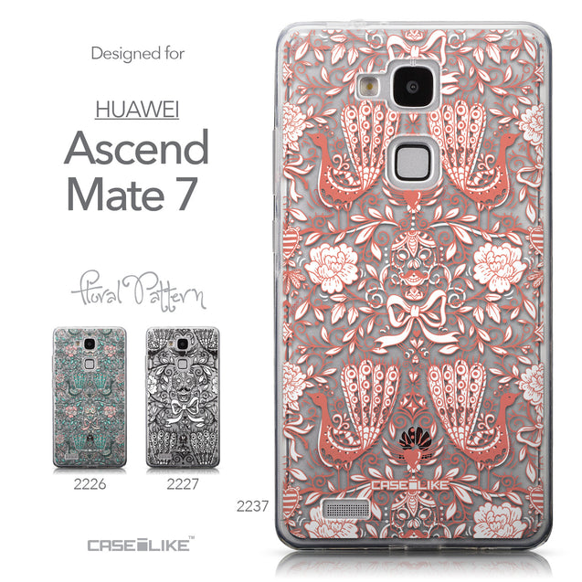 Collection - CASEiLIKE Huawei Ascend Mate 7 back cover Roses Ornamental Skulls Peacocks 2237