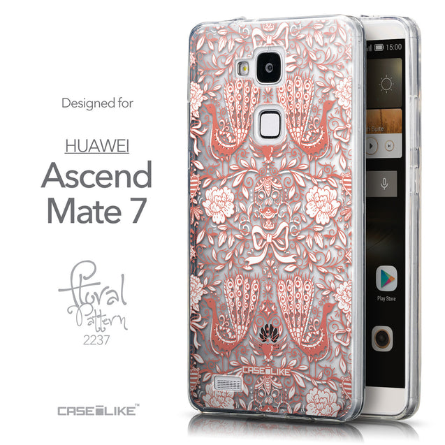 Front & Side View - CASEiLIKE Huawei Ascend Mate 7 back cover Roses Ornamental Skulls Peacocks 2237