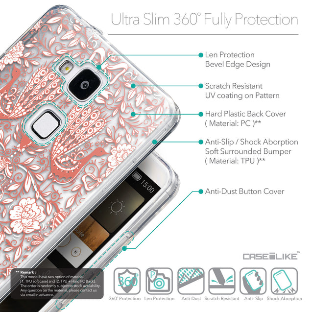 Details in English - CASEiLIKE Huawei Ascend Mate 7 back cover Roses Ornamental Skulls Peacocks 2237