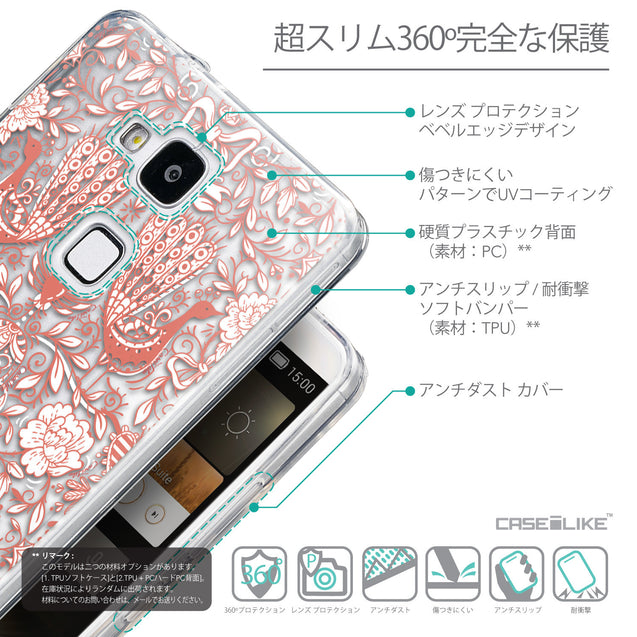 Details in Japanese - CASEiLIKE Huawei Ascend Mate 7 back cover Roses Ornamental Skulls Peacocks 2237