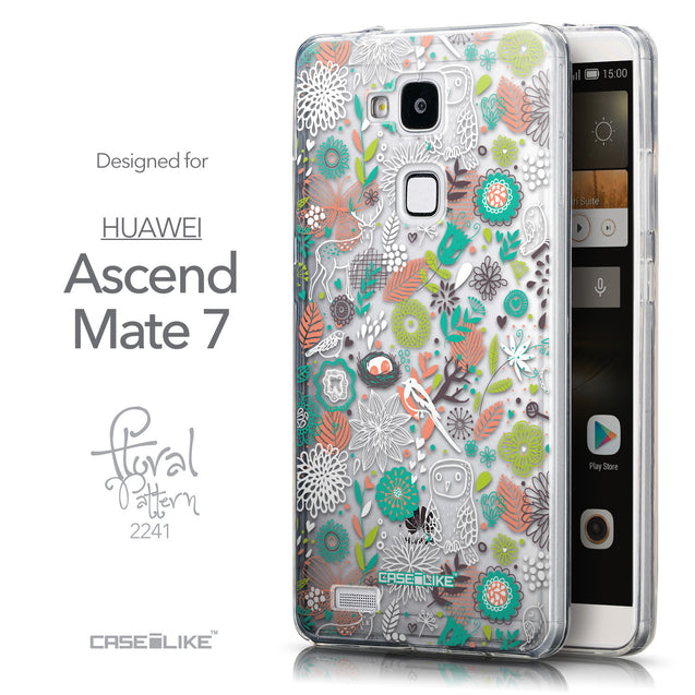 Front & Side View - CASEiLIKE Huawei Ascend Mate 7 back cover Spring Forest White 2241