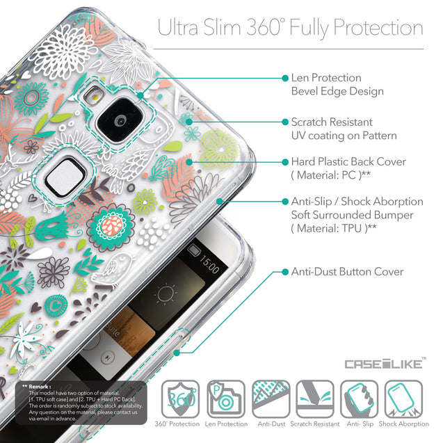 Details in English - CASEiLIKE Huawei Ascend Mate 7 back cover Spring Forest White 2241