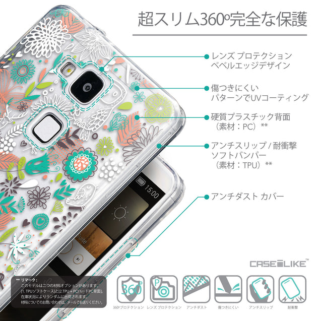 Details in Japanese - CASEiLIKE Huawei Ascend Mate 7 back cover Spring Forest White 2241