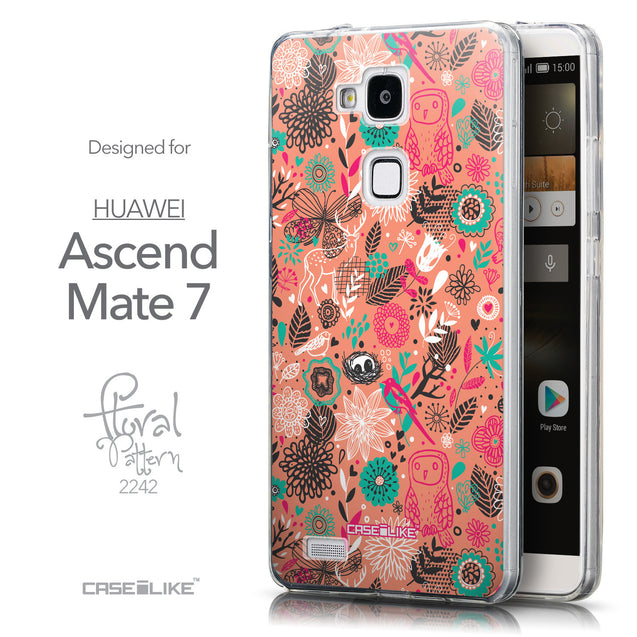 Front & Side View - CASEiLIKE Huawei Ascend Mate 7 back cover Spring Forest Pink 2242