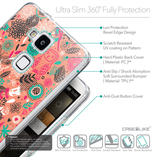 Details in English - CASEiLIKE Huawei Ascend Mate 7 back cover Spring Forest Pink 2242
