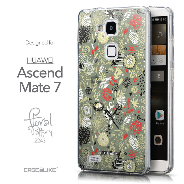Front & Side View - CASEiLIKE Huawei Ascend Mate 7 back cover Spring Forest Gray 2243