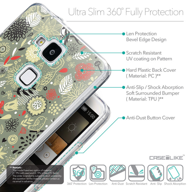 Details in English - CASEiLIKE Huawei Ascend Mate 7 back cover Spring Forest Gray 2243