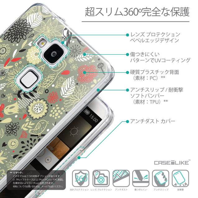 Details in Japanese - CASEiLIKE Huawei Ascend Mate 7 back cover Spring Forest Gray 2243