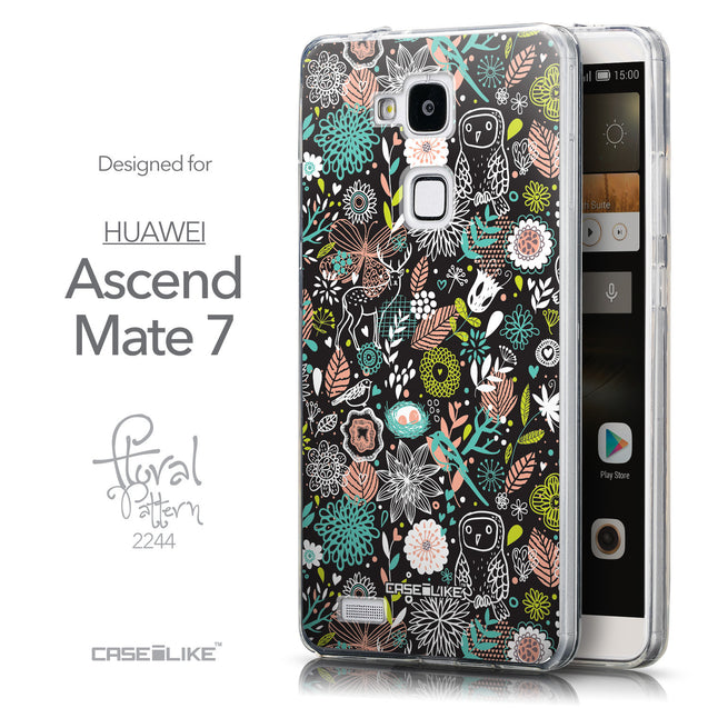 Front & Side View - CASEiLIKE Huawei Ascend Mate 7 back cover Spring Forest Black 2244