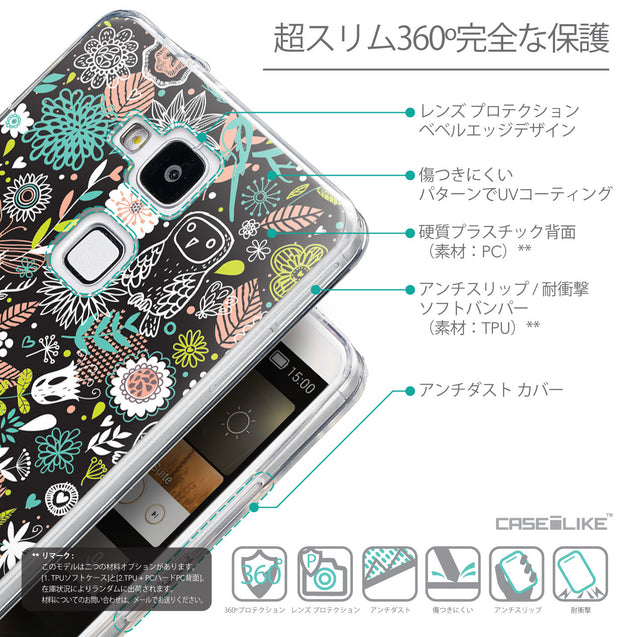 Details in Japanese - CASEiLIKE Huawei Ascend Mate 7 back cover Spring Forest Black 2244