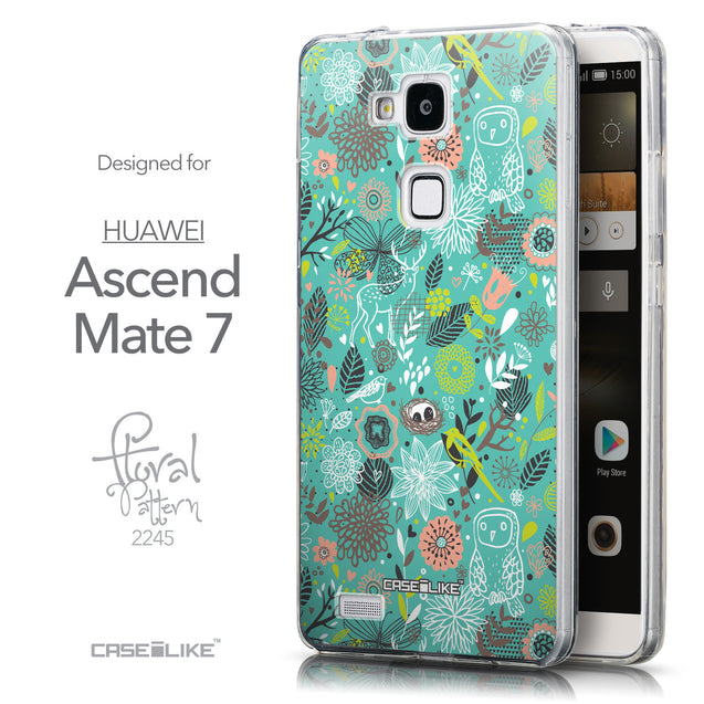 Front & Side View - CASEiLIKE Huawei Ascend Mate 7 back cover Spring Forest Turquoise 2245