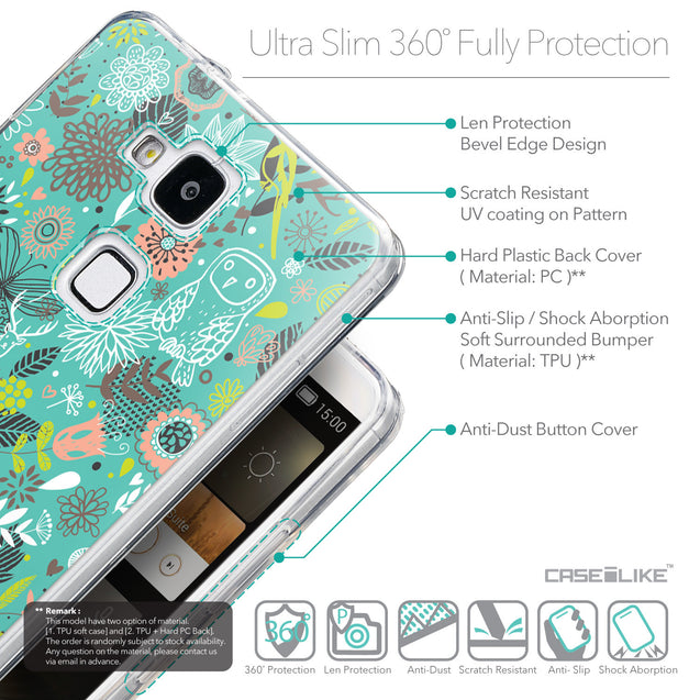 Details in English - CASEiLIKE Huawei Ascend Mate 7 back cover Spring Forest Turquoise 2245