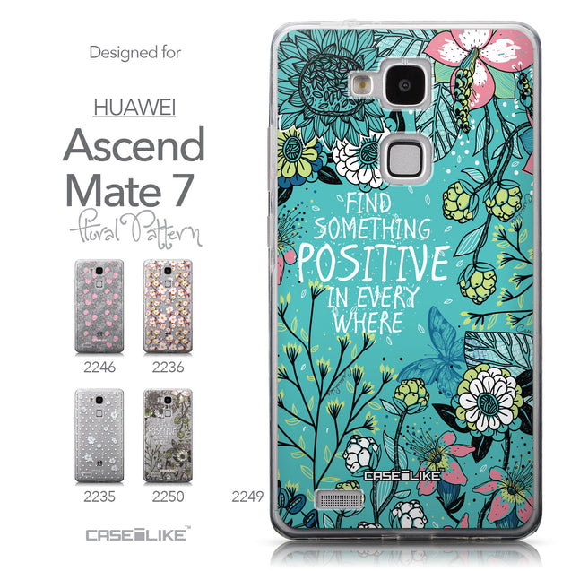 Collection - CASEiLIKE Huawei Ascend Mate 7 back cover Blooming Flowers Turquoise 2249