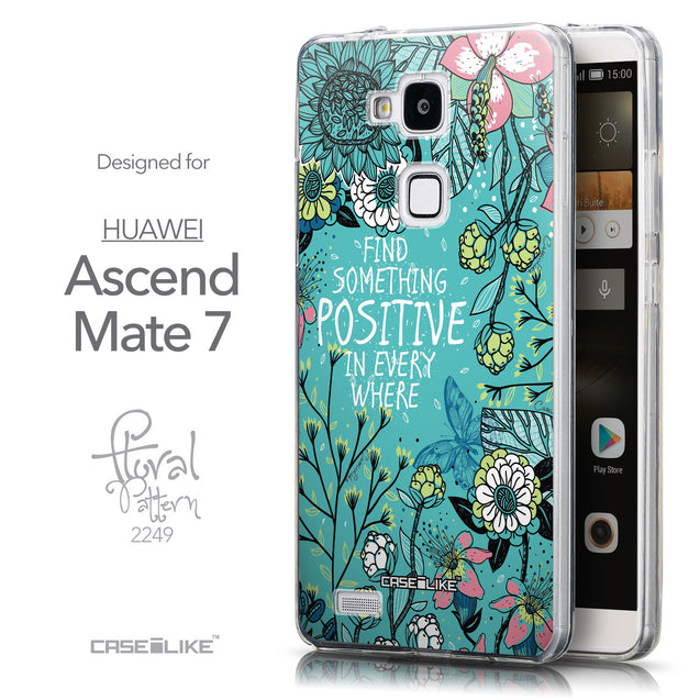 Front & Side View - CASEiLIKE Huawei Ascend Mate 7 back cover Blooming Flowers Turquoise 2249